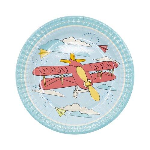 цена на Веселая затея Тарелки одноразовые бумажные Самолетики 17 см (6 шт.) голубой/красный