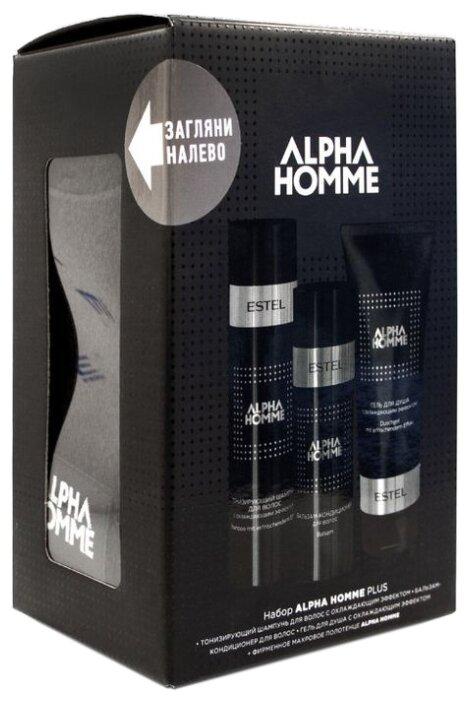 Est OTIUM HOMME AH/NP Набор ALPHA HOMME PLUS (тонизирующий шампунь,бальзам для волос, гель для душа, фирм.полотенце)