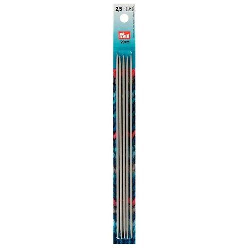Спицы Prym алюминиевые чулочные (5 шт), диаметр 2.5 мм, длина 20 см, жемчужно-серый запчасти quechua алюминиевые дуги 4 5 м ø 8 5 мм сегменты 30 см
