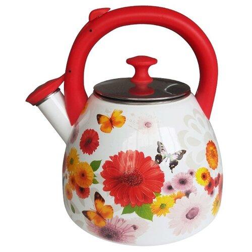 Metalloni Чайник со свистком Цветочная фантазия 3 л белый/красный чайник agness горошек со свистком 937 801 белый 3 л