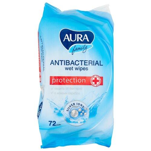 Влажные салфетки Aura Family антибактериальные, 72 шт.