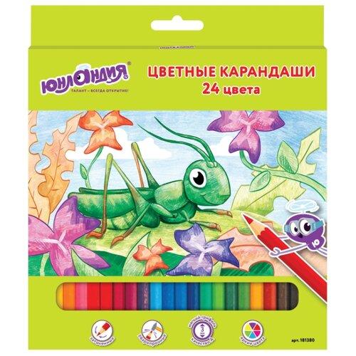 Купить Юнландия Карандаши цветные В гостях у букашек 24 цвета (181380), Цветные карандаши