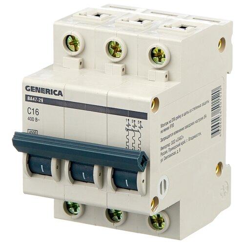Автоматический выключатель IEK ВА 47-29 GENERICA 3P (C) 4,5kA 16 А автомат iek 3п c 40а ва 47 100