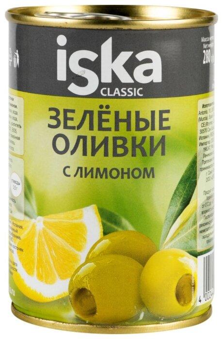 Iska Оливки зеленые с лимоном, жестяная банка 300 мл