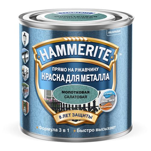 Краска алкидная Hammerite для металлических поверхностей с молотковым эффектом матовая салатовая 2.5 л