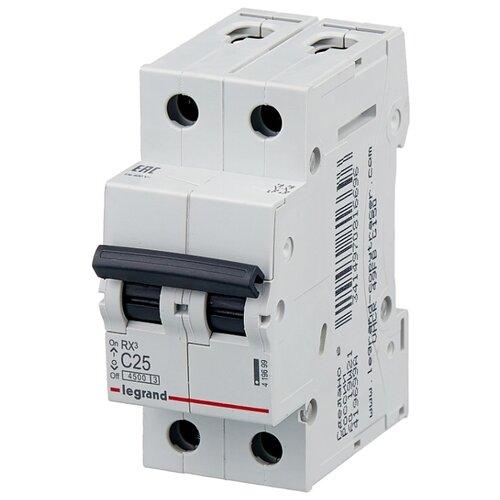 Автоматический выключатель Legrand RX3 2P (C) 4,5kA 25 А legrand выключатель авт 2п c 25а rx3 4 5ка leg 419699