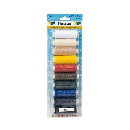 Gamma Набор швейных нитей №01 40/2 200 ярдов 183 м х 10 шт.