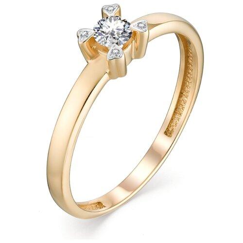 АЛЬКОР Кольцо с 5 бриллиантами из красного золота 13028-100, размер 15.5