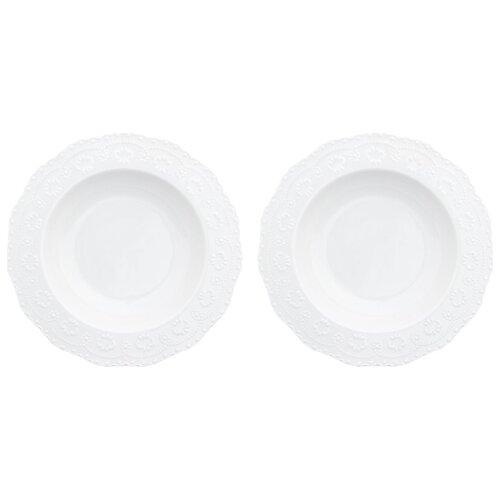 Elan gallery Набор суповых тарелок Белый узор 22 см 2 шт белый набор кружек 2 предмета 320 мл 12х8 5х10 5 см elan gallery арабески бело бирюзовые