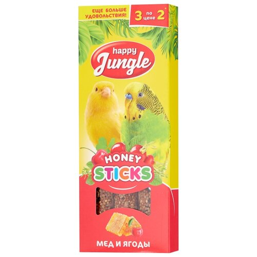 Лакомство для птиц Happy Jungle мед + ягоды