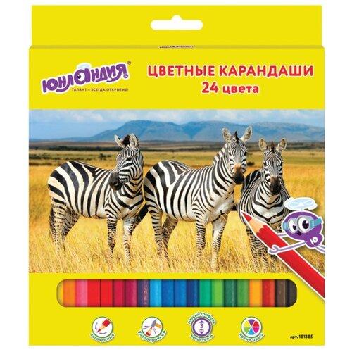 Купить Юнландия Карандаши цветные Мир животных 24 цвета (181385), Цветные карандаши