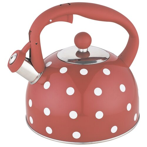 Webber Чайник со свистком BE-0575/BE-0576 2,7 л красный в горошек чайник agness горошек со свистком 937 801 белый 3 л