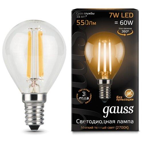Лампа светодиодная gauss 105801107, E14, G45, 7Вт лампа светодиодная gauss 103101207 d e14 c38 7вт