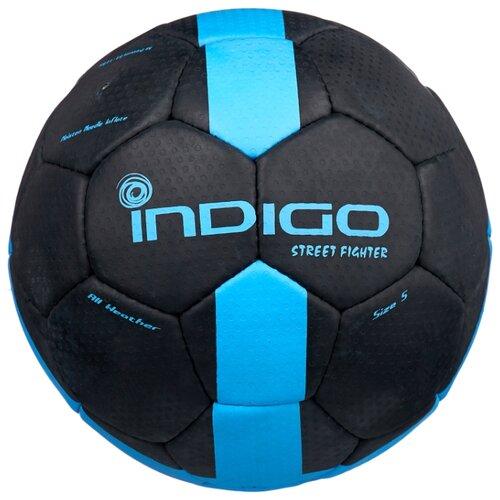 Футбольный мяч Indigo STREET FIGHTER E02 черный/синий 5