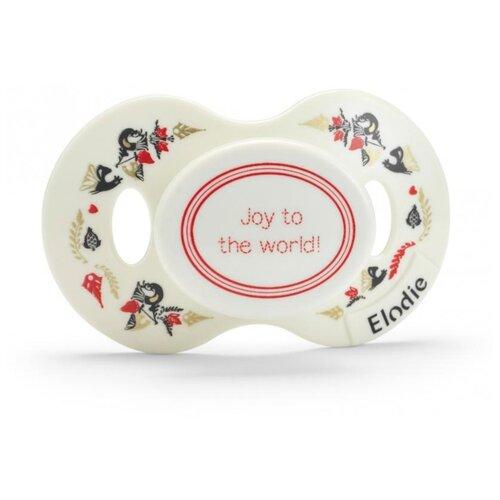 Купить Пустышка силиконовая ортодонтическая Elodie Details Joy to the world 0-3 м (1 шт) белый, Пустышки и аксессуары