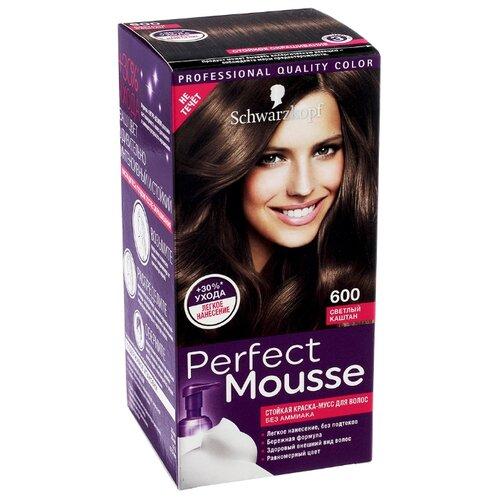 Schwarzkopf Perfect Mousse Стойкая краска-мусс для волос, 600, Светлый каштан