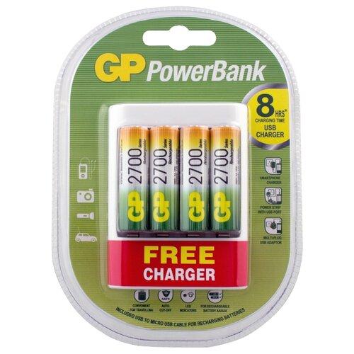 цена на Аккумулятор Ni-Mh 2700 мА·ч GP Rechargeable 2700 Series AA + Зарядное устройство USB PowerBank 4 шт блистер