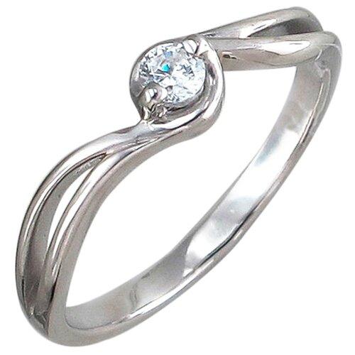 Эстет Кольцо с 1 фианитом из серебра 01К156734, размер 16