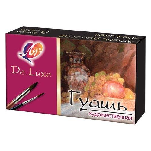 Купить Луч Гуашь De lux 6 цветов х 20 мл, на гуммиарабике (14С 1037-08), Краски