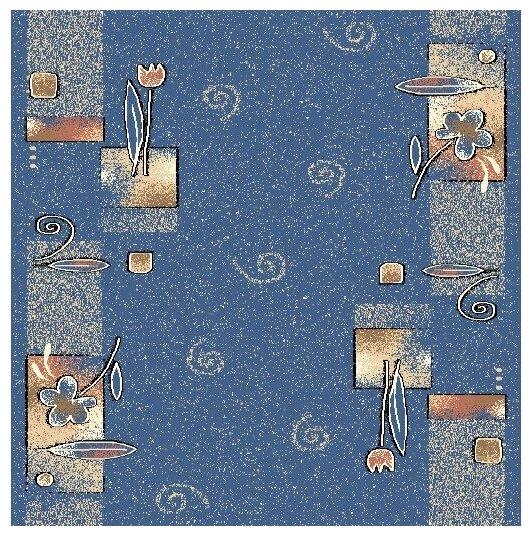 Люберецкие ковры Ковровая дорожка Цветочные Ряды синий 77-02 1.1x9 м.