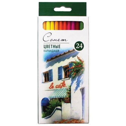 Сонет Карандаши цветные профессиональные 24 цвета (13141433) профессиональные оттеночные шампуни красного цвета купить