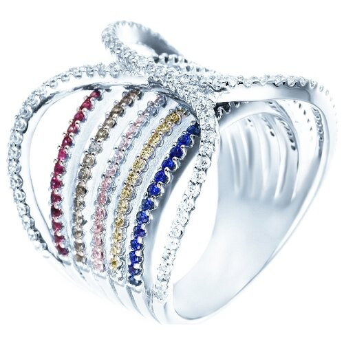 Фото - JV Кольцо с фианитами из серебра DM2166-TTR-KO-001-WG, размер 18 jv кольцо с ониксами и фианитами из серебра pr150002b ox 001 wg размер 17
