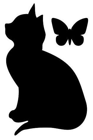 Комплект наклеек Grifeldecor Кошка с бабочкой, меловая