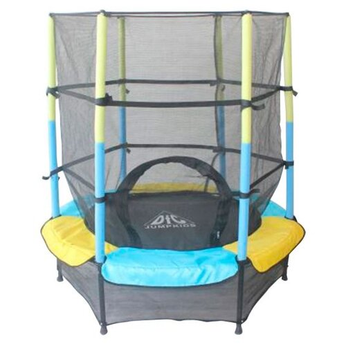 Каркасный батут DFC Jump Kids 55 (пружины амортизирующий трос) 137х137х165 см желтый/синий каркасный батут dfc jump sun 40inch js b 100х100х22 5 см синий