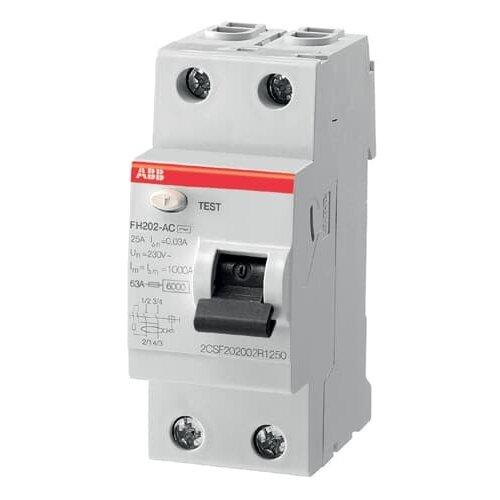 УЗО ABB 30мА тип AC FH202 2 полюса 25 А узо schneider electric dekraft 2p 25а 30ма тип ac 6ка 14054dek