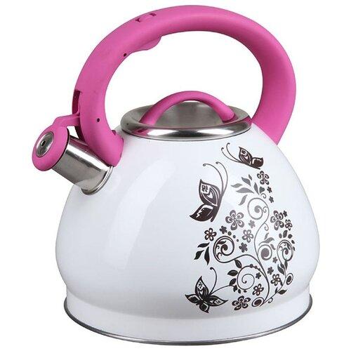 Pomi d'Oro Чайник со свистком PSS-650018 3 л белый/розовый чайник agness горошек со свистком 937 801 белый 3 л