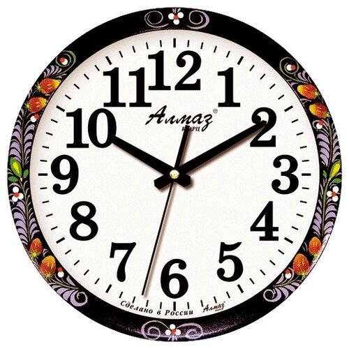 Часы настенные кварцевые Алмаз B83 черный/белый часы настенные кварцевые алмаз h01 белый черный