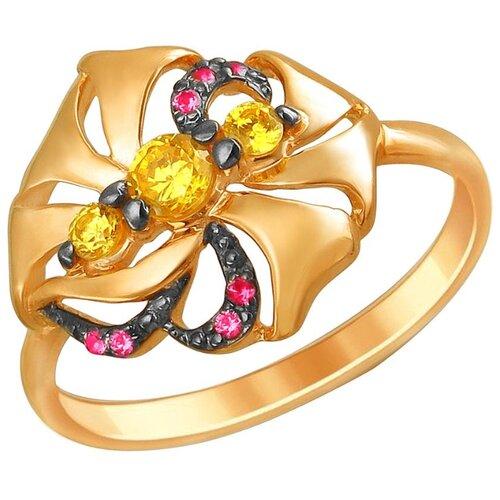 Эстет Кольцо с цитринами и корундами из красного золота 01К2111825ЧР-1, размер 16 ЭСТЕТ