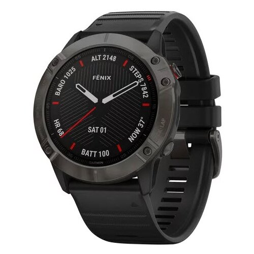 Умные часы Garmin Fenix 6X Sapphire DLC, серый/черный умные часы garmin fenix 6x pro solar титановый с титановым браслетом серый