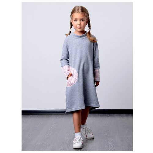 Платье Дашенька размер 86, серый/розовый