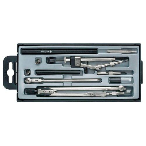 Купить Globus Набор чертежный 10 предметов (НЧ10-70-60) серебристый/черный, Чертежные инструменты