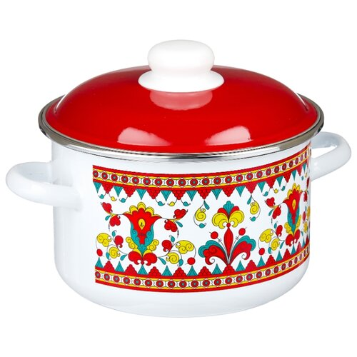 Кастрюля Appetite Карусель 3 л, белый/красный кастрюля appetite карусель 4 л белый красный