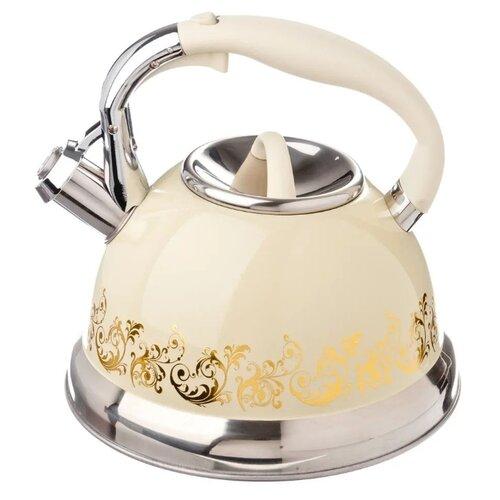 Vetta Чайник Золотая вязь 847054 3 л, серебристый/бежевый/золото кастрюля vetta повар 3 6 л белый красный