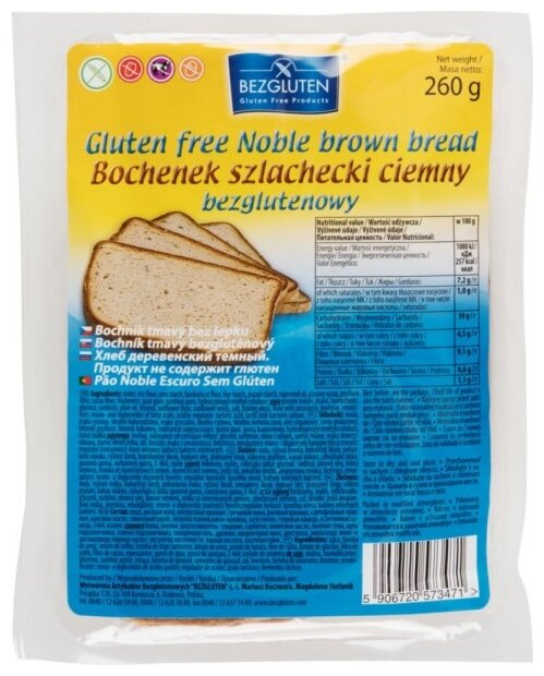 Хлеб Bezgluten деревенский темный без глютена, 260г