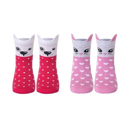 Купить Носки Conte-kids комплект 2 пары размер 16, 318 малиновый/ 321светло-розовый