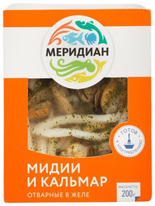 Меридиан Мидии и кальмар в желе отварные с зеленью