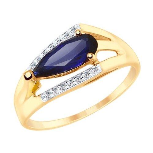 SOKOLOV Кольцо из золота с синим корундом (синт.) и фианитами 715249, размер 18 sokolov кольцо из золота с жемчугом и корундом 791038 размер 18