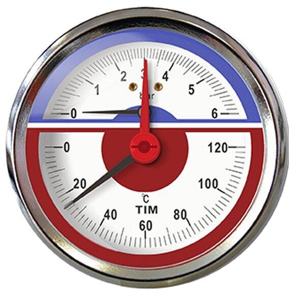 Термоманометр аксиальный 6 бар TIM Y-80T-6bar