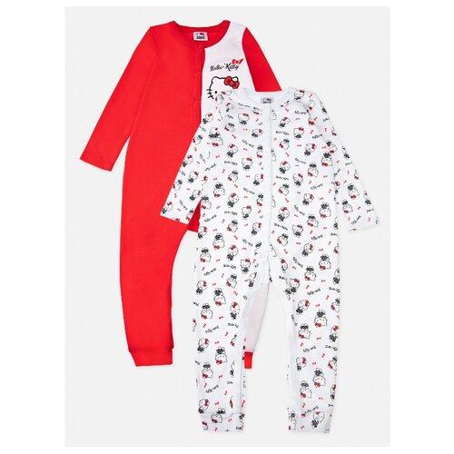 Комбинезон playToday размер 62, белый/красный платье oodji ultra цвет красный белый 14001071 13 46148 4512s размер xs 42 170