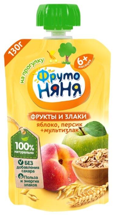 Пюре ФрутоНяня фрукты и злаки. Яблоко, персик + мультизлак (с 6 месяцев) 130 г, 1 шт.