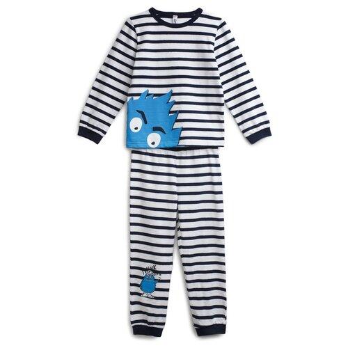 Пижама playToday размер 110, белый/темно-синий/голубой футболка для мальчика batik цвет темно синий голубой ds0173 10 11 размер 110