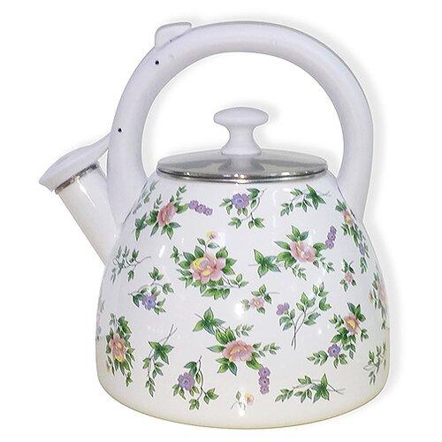 Metalloni Чайник со свистком Розмари 3 л белый/розовый чайник agness горошек со свистком 937 801 белый 3 л