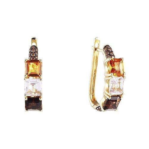 Фото - JV Серьги из золота 585 пробы с цветными полудрагоценными камнями и бриллиантами AAS-3836E-SR-DN-MC-YG серьги с полудрагоценными камнями