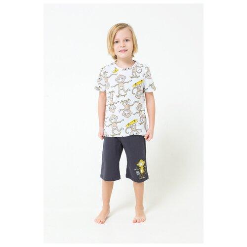 Купить Пижама crockid размер 122, белый/темно-серый, Домашняя одежда