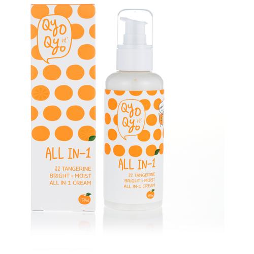 QyoQyo Мандариновый крем для лица 3 в 1 Tangerine Bright + Moist all-in-one cream, 150 мл qyoqyo тонер tangerine bright moist 120 мл