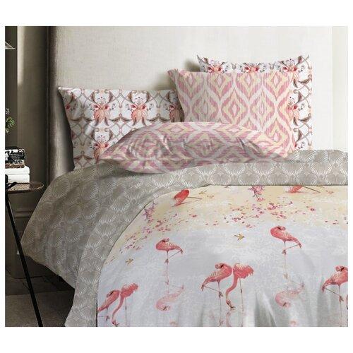 цена на Постельное белье 1.5-спальное Mona Liza Japanese Flamingo 50х70 см, ранфорс серый/розовый